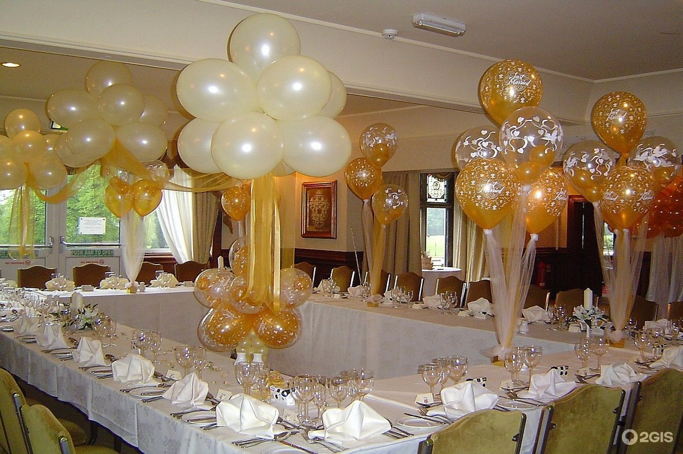 Оформление шарами банкетного зала к свадьбе фото